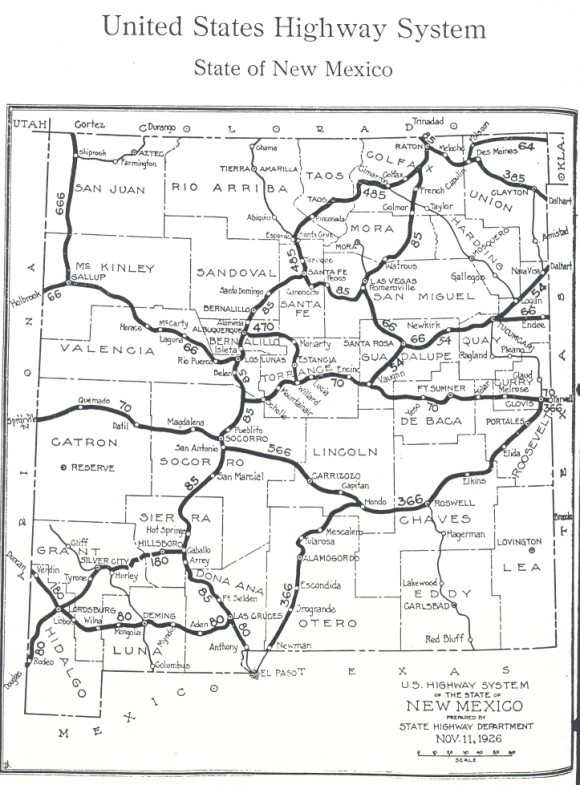 Map of original 1927 U.S. highway system in NM